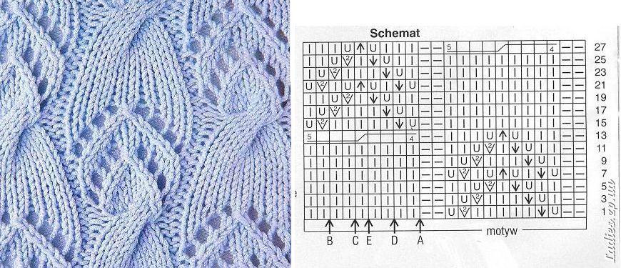 Схемы рисунков для вязания беретов на спицах