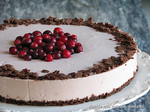 Торт с творогом печеньем и желе